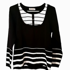 Long sleeve sweater neck black and White